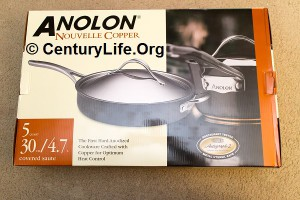 """5-qt (12"""") Anolon Nouvelle Copper Saute Pan"""
